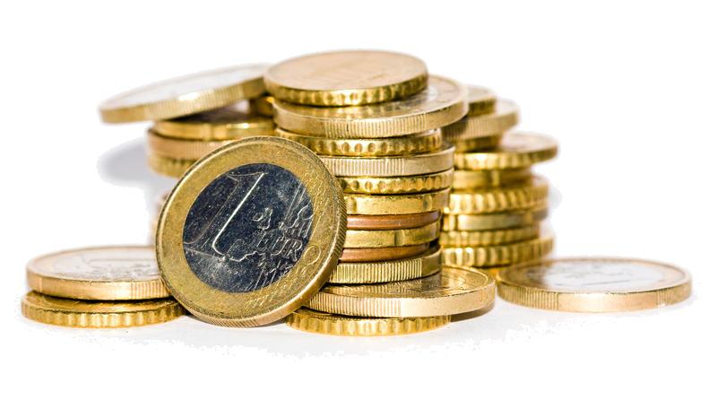 Haufen aus Euromünzen