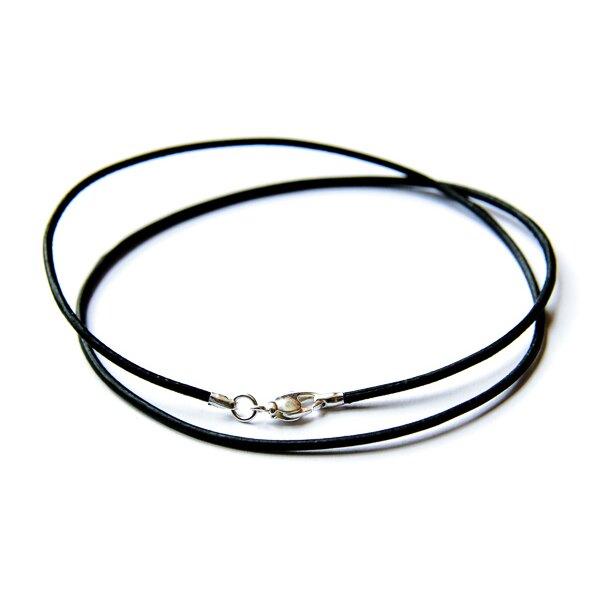 Schwarzes Lederband mit Verschluss 1 Stück Länge 50 cm.