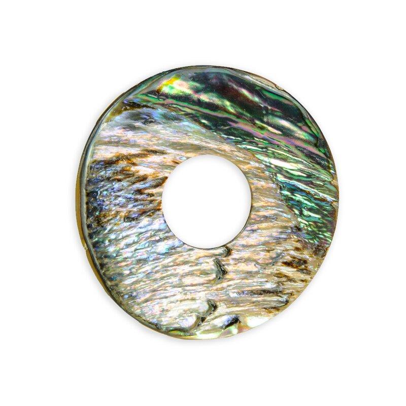 Anhänger Spirale Perlmut Paua Muschel an einen Lederband